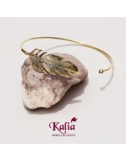 Bangle de Pluma Plata Ley  925 y oro