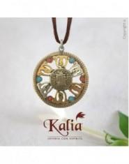 Dije Símbolo Kalachakra con piedras